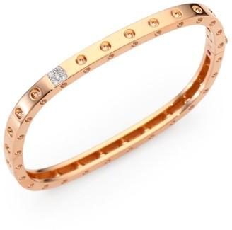Roberto Coin Pois Moi Diamond & 18K Rose Gold Single-Row Bangle Bracelet