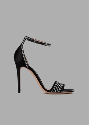 Giorgio Armani Satin Sandals With Heel And Small Stud Decoration