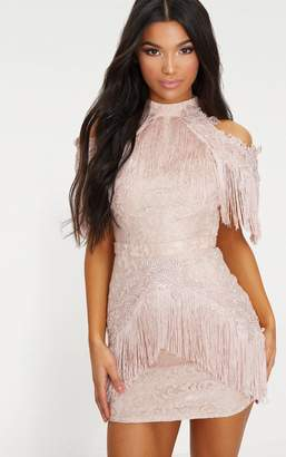 PrettyLittleThing Dusty Pink Cold Shoulder Lace Tassel Trim Bodycon Dress