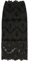 Sandro Rococo Metallic Guipure Lace Midi Skirt