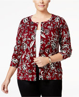 Charter Club Plus Size Printed Cardigan, Only at Macy's