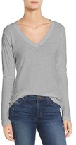James Perse Slub Cotton V-Neck Long Sleeve Tee
