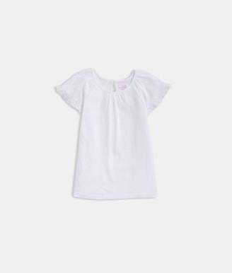 Vineyard Vines Girls' Eyelet Trimmed Flutter-Sleeve Knit Top