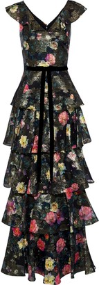 Marchesa Tiered Floral-print Fil Coupe Chiffon Gown