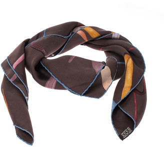 Hermes Chocolat Brown Attrape Tes Reves Silk Twill Scarf