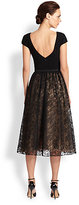 Theia Belted Crepe & Glittered Lace Dress