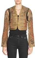 Saint Laurent Marrakech Distressed Tapestry Bolero with Passementerie, Saffron Red/Multi
