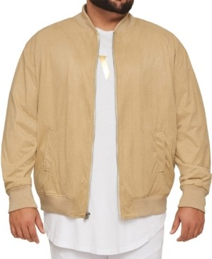 Mvp Collections By Mo Vaughn Productions Men's Big & Tall Mvp Collections Perforated Suede Bomber Jacket