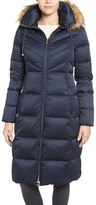Eliza J Women's Water Resistant Down Jacket With Faux Fur Trim