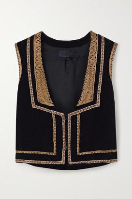 Nili Lotan Griffin Moroccan Embellished Cotton-velvet Vest - Black