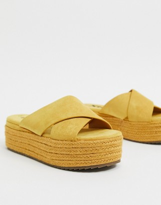 Xti cross strap flatform espadrille sandals in yellow