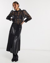 Lost Ink midi skirt with button front in patchwork faux leather
