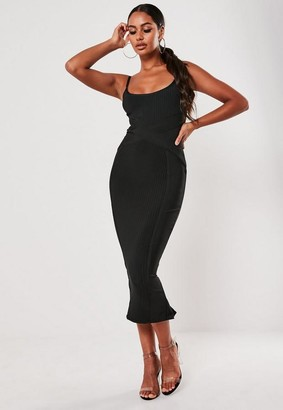 Missguided Petite Black Ribbed Bandage Cami Midaxi Dress