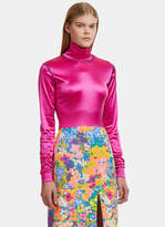 Eckhaus Latta Neon Sleek Turtleneck Top in Pink