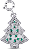 Sofia B 1/6 CT TW Lab-Created Emerald and Sapphire Silver Christmas Tree Charm