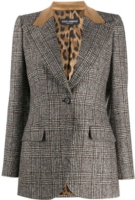 Dolce & Gabbana Contrasting Collar Checked Blazer