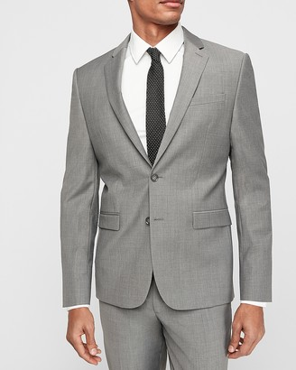 Express Extra Slim Gray Wool-Blend Performance Stretch Suit Jacket