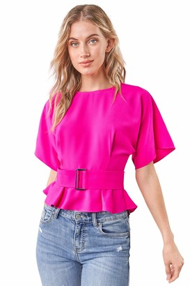 Sugar Lips Sugarlips Women's Rise Up Short Sleeve Belted Blouse