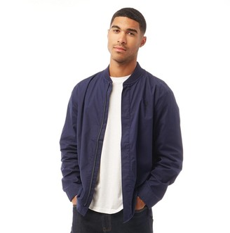 Fred Perry Mens Bomber Collar Zip Through Long Sleeve Shirt Carbon Blue