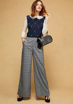 MCB1200 Style these wide-leg trousers from our ModCloth namesake label any way you please! If you're torn between sleek blouses or casual tees as the best match for this vintage-inspired pair's sash, pockets, and grey plaid print, we believe that you can't go wro