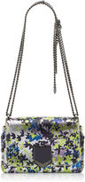 Jimmy Choo LOCKETT PETITE Apple and Lilac Camoflower Print Cracked Metallic Leather Shoulder Bag