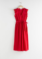 And other stories Cotton Crepe Midi Wrap Dress