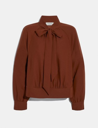 Coach Satin Tie Neck Blouse