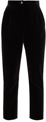 Dolce & Gabbana High-rise Cotton-velvet Trousers - Womens - Black
