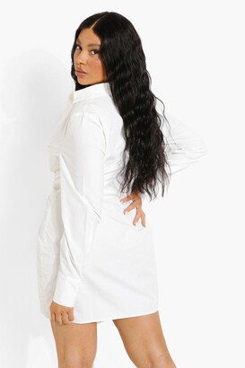 boohoo Plus Woven Wrap Shirt Dress