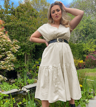 Noisy May Curve linen midi smock dress in beige