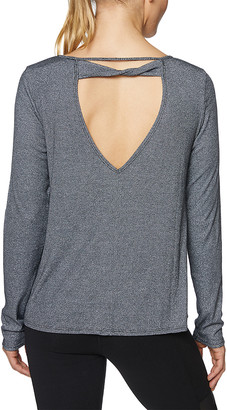 Betsey Johnson Women's Tee Shirts BLK - Charcoal Open-Back Long-Sleeve Top - Women