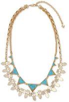 Vera Bradley Versatile Gold-Tone Blue Stone Triangle and Geometric Disc Layered Statement Necklace
