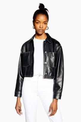 Topshop Womens Black Leather Western Jacket - Black