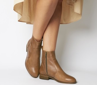Office Ashleigh Flat Ankle Boots - Wide Fit Tan Leather