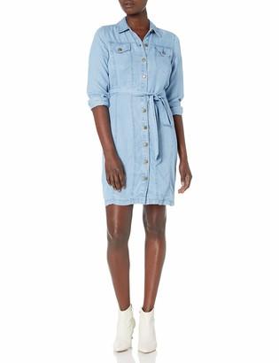 Calvin Klein Women's Long Sleeve Shirt Dress with Self-Belt
