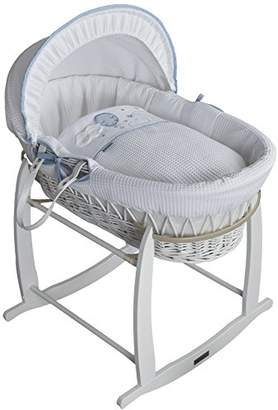Clair De Lune Wicker Moses Basket, Pink/White, Over The Moon