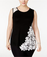 INC International Concepts Plus Size Lace-Embellished Tank Top, Only at Macy's