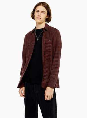 TopmanTopman Rust and Black Houndstooth Slim Shirt