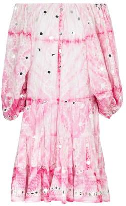 Juliet Dunn Off-shoulder cotton minidress