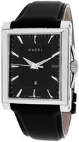 Gucci YA138404 Men's G-Timeless Black Leather Watch