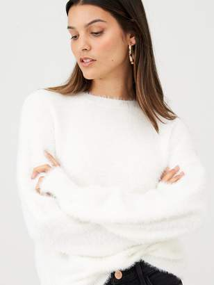 Very Fluffy Crew Neck Jumper - Winter White