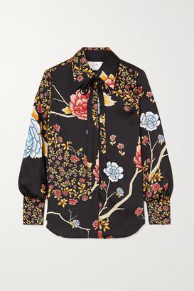 Victoria Victoria Beckham Pussy-bow Floral-print Twill Shirt - Black