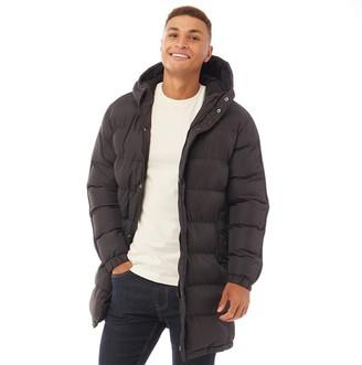Brave Soul Mens Allenb Padded Hooded Longline Jacket Black