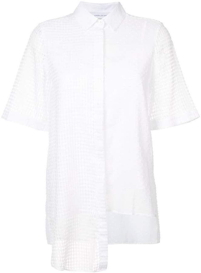 Kimora Lee Simmons semi sheer asymmetric short sleeve shirt
