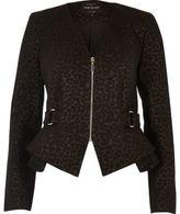 River Island Womens Brown leopard print peplum jacket