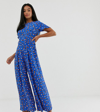 Asos DESIGN Petite ditsy floral tea jumpsuit with button side-Multi