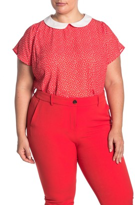 Cece By Cynthia Steffe Peter Pan Collar Short Sleeve Blouse (Plus Size)