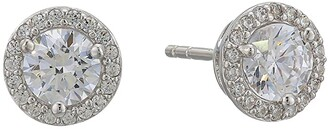 Michael Kors Precious Metal-Plated Sterling Silver Pave Logo Studs Earrings (Silver 2) Earring