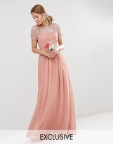 Maya Pleated Maxi Dress With Pearl Embellishment