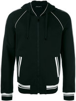 Dolce & Gabbana contrast piped trim hoodie - men - Cotton/Calf Leather/Nylon/Spandex/Elastane - 52